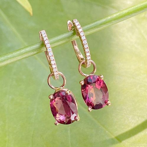 18KTRG DIAMOND & RHODOLITE GARNET DETACHABLE DANGLE EARRINGS