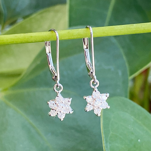 FLORAL STYLE DIAMOND DANGLE EARRINGS