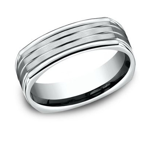 Benchmark® 7MM SATIN FINISHED FOUR SIDED CENTER CUTS MEN'S BAND SIZE10.5