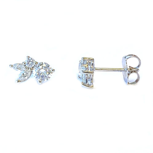0.77CT. CLUSTER STYLE DIAMOND STUD EARRINGS