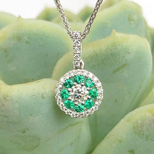 GREEN EMERALD & DIAMOND CLUSTER HALO CIRCLE PENDANT