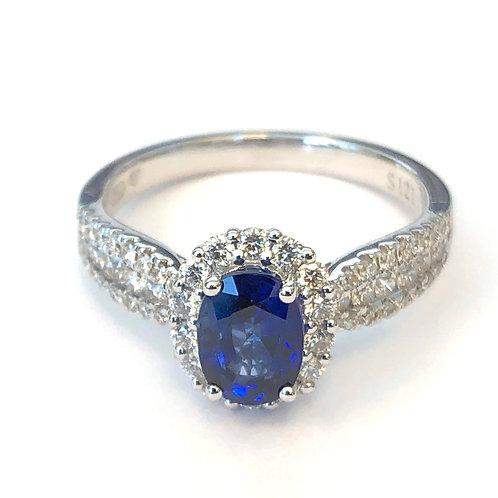 OVAL BLUE SAPPHIRE & DIAMOND HALO RING