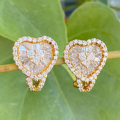 18KT YELLOW GOLD & DIAMOND HEART EARRINGS