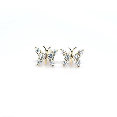 PETITE BUTTERFLY DIAMOND STUD EARRINGS IN 18KTYG