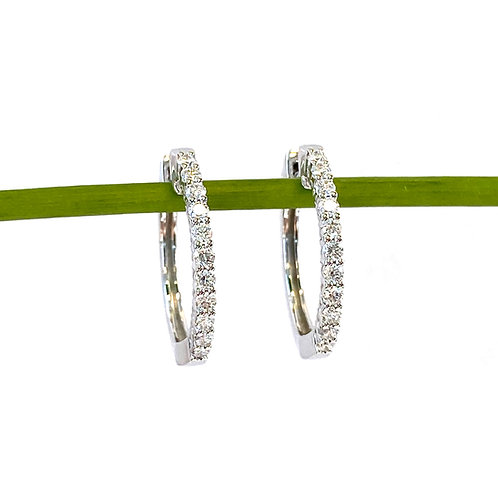 "3/4"" DIAMOND HOOP EARRINGS IN 18KT WHITE GOLD"