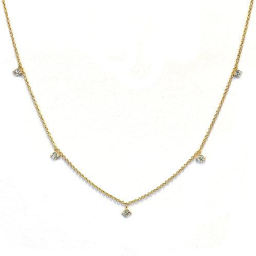 14KTYG MULTI DIAMOND DANGLE NECKLACE