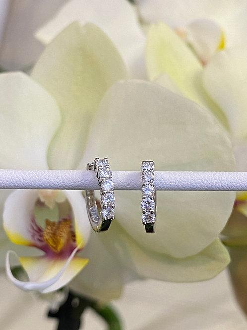 PETITE 0.49CTTW. DIAMOND HUGGIE HOOP EARRINGS IN WHITE GOLD