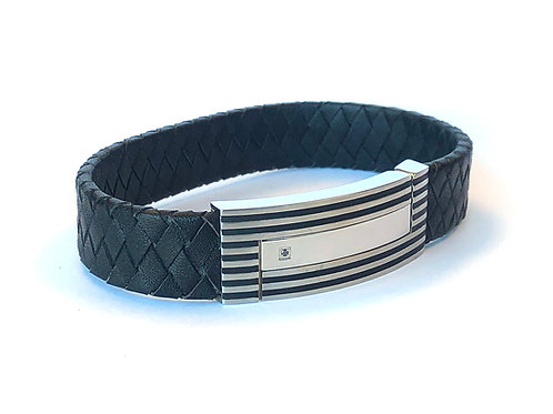 BLACK DIAMOND BRAIDED LEATHER STAINLESS STEEL BRACELET