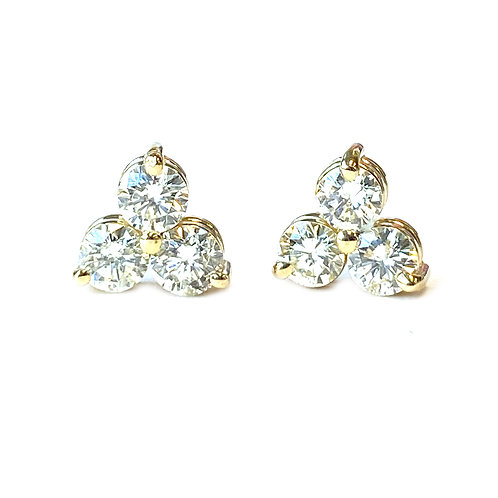 0.86CTTW. THREE STONE DIAMOND STUD EARRINGS IN YELLOW GOLD