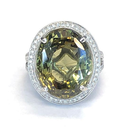 17.56 CT. CHRYSOBERYL DIAMOND HALO RING