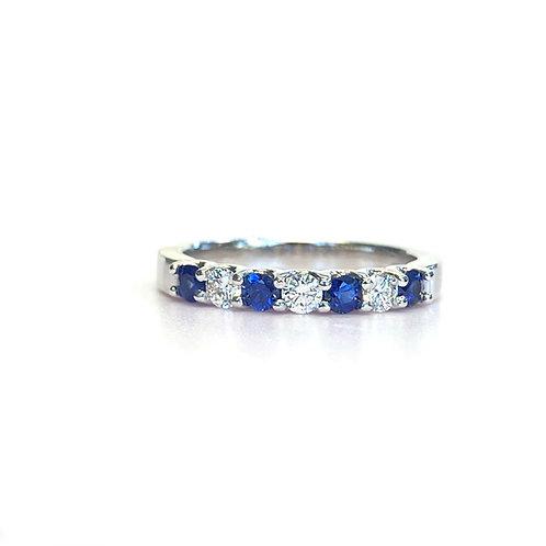 14KTWG BLUE SAPPHIRE ALTERNATING DIAMONDS ANNIVERSARY BAND