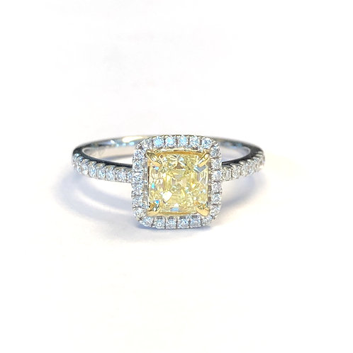 1.12CT. FANCY LIGHT YELLOW SQUARE EMERALD DIAMOND RING