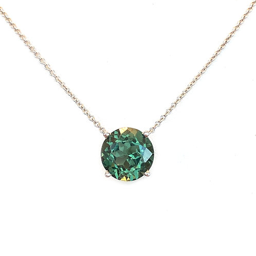 4.99CT. GREEN CHRYSOBERYL PENDANT NECKLACE