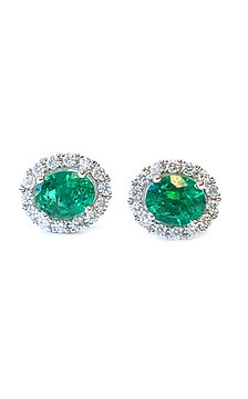 GREEN EMERALD & DIAMOND HALO STUD EARRINGS IN 18KTWG