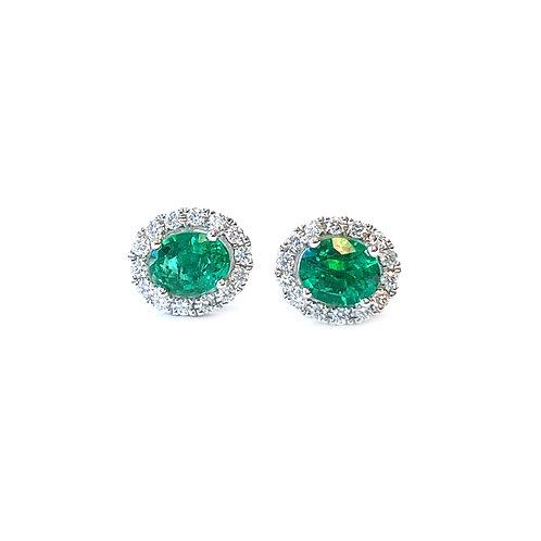 GREEN EMERALD & DIAMOND HALO STUD EARRINGS IN 18KTWG