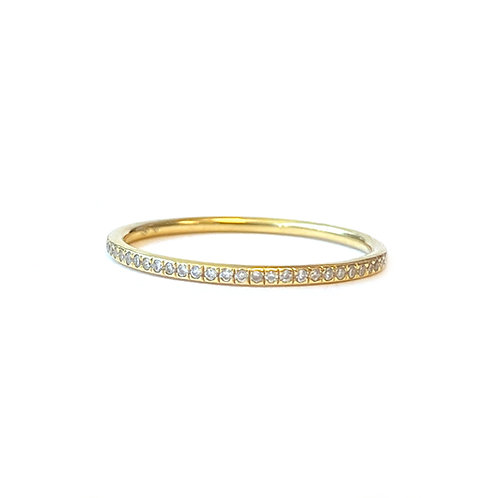 DELICATE PETITE 18KT YELLOW GOLD 0.10CTTW. DIAMOND BAND