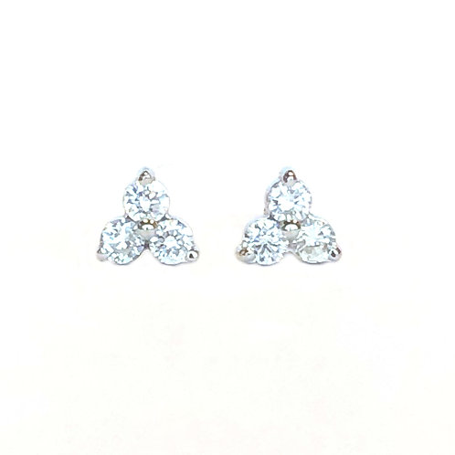 PETITE THREE STONE 0.22CTTW. DIAMOND STUD EARRINGS