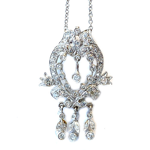 VINTAGE 14KTWG DIAMOND PENDANT NECKLACE