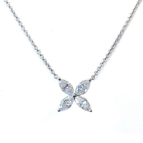 0.97CTTW. FOUR PETAL FLOWER DIAMOND NECKLACE 18KTWG