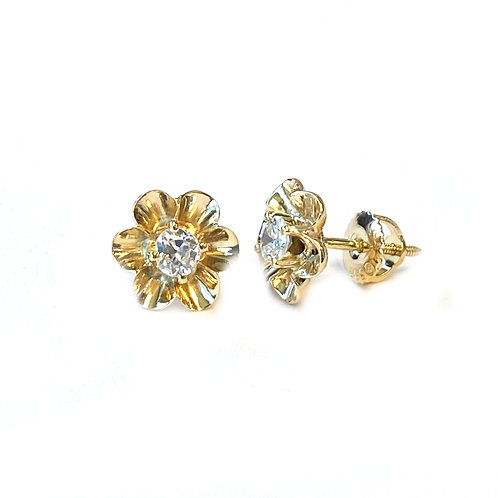 OLD EUROPEAN CUT DIAMOND FLOWER STUD EARRINGS