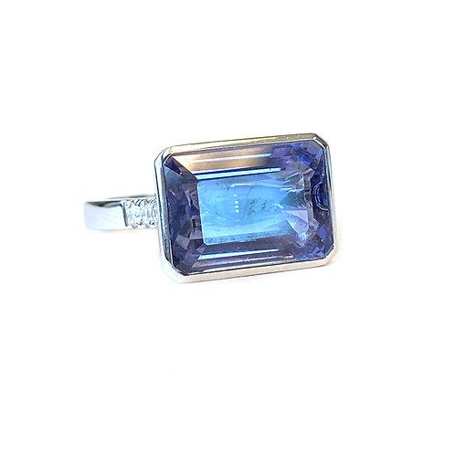 5.25CT. GIA CERTIFIED OCTAGONAL STEP CUT IOLITE & DIAMOND RING