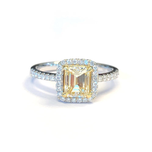 1.04CT. EMERALD CUT DIAMOND HALO RING