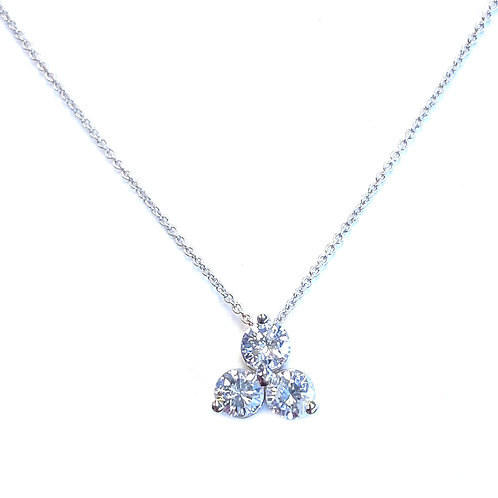 0.76CTTW. THREE STONE DIAMOND SLIDE PENDANT NECKLACE