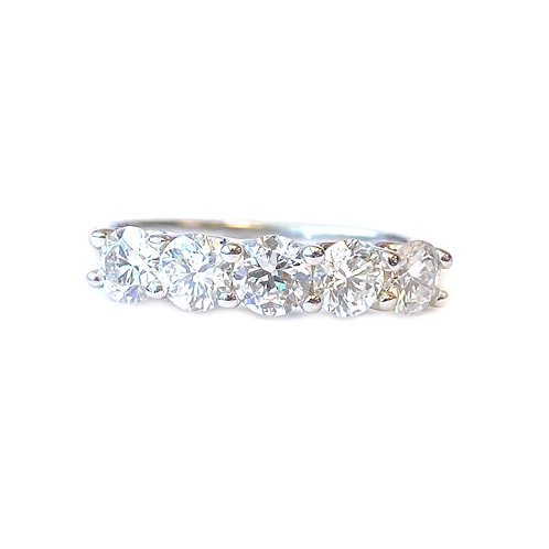 1.24CT. U-GALLERY DOUBLE SHARED PRONG STYLE FIVE STONE DIAMOND RING