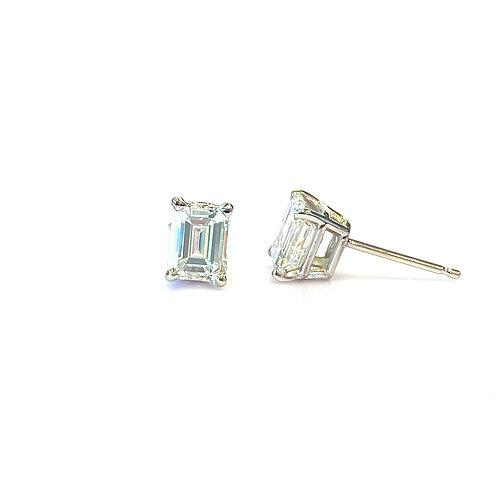 1.35CTTW. GIA CERTIFIED EMERALD CUT DIAMOND STUD EARRINGS