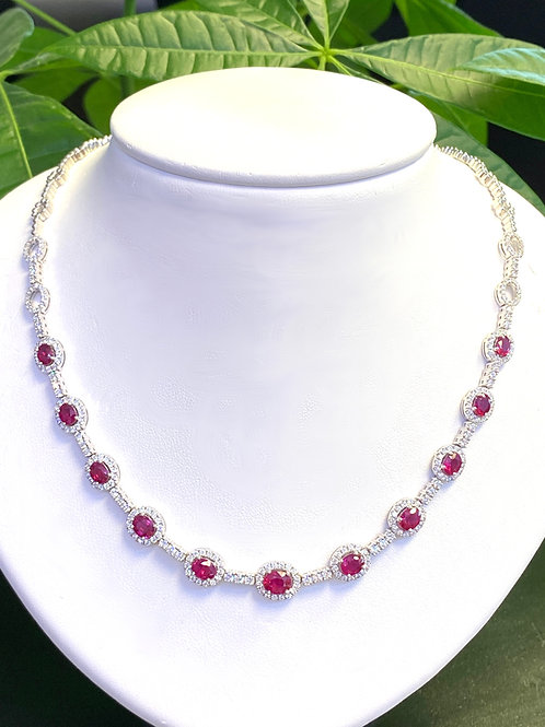 5.39 CT. RUBY & 3.31CT. DIAMOND HALO STATION NECKLACE