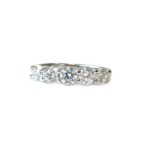 1.35CTTW. U-GALLERY DOUBLE SHARED PRONG STYLE FIVE STONE DIAMOND RING