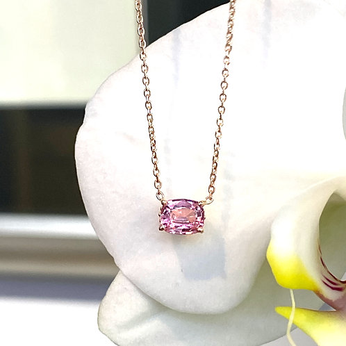 0.97CT. GIA CERTIFIED PINK SAPPHIRE ROSE GOLD NECKLACE