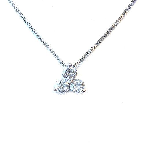 0.62CT. THREE DIAMOND SLIDE STYLE PENDANT NECKLACE