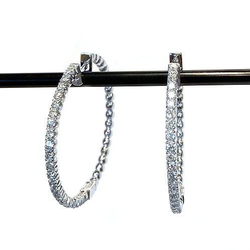 1.02CTTW. LARGE DIAMOND HOOP EARRINGS 14KTWG