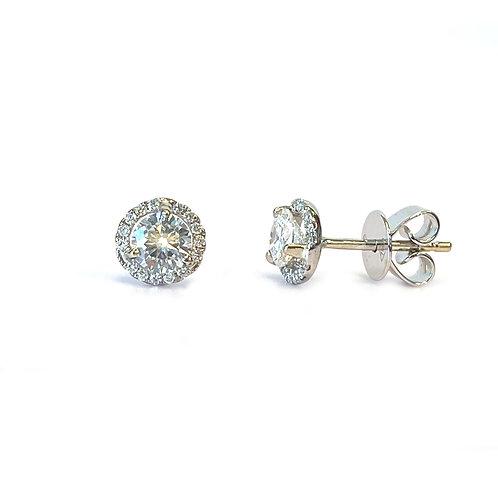 0.67CTTW. ROUND DIAMOND HALO STUD EARRINGS 18KTWG