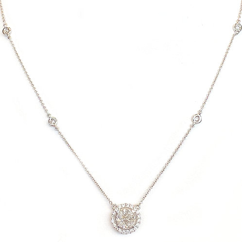 0.89CT. QUARTER MOON CLUSTER DIAMOND HALO STYLE NECKLACE