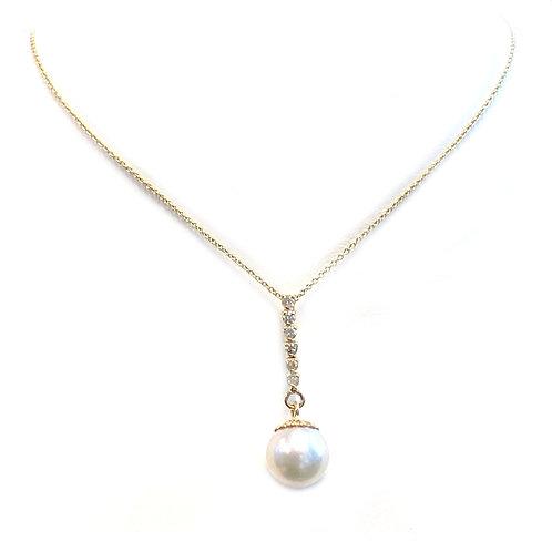 8.4MM PEARL & DIAMOND DANGLE PENDANT NECKLACE 14KTYG