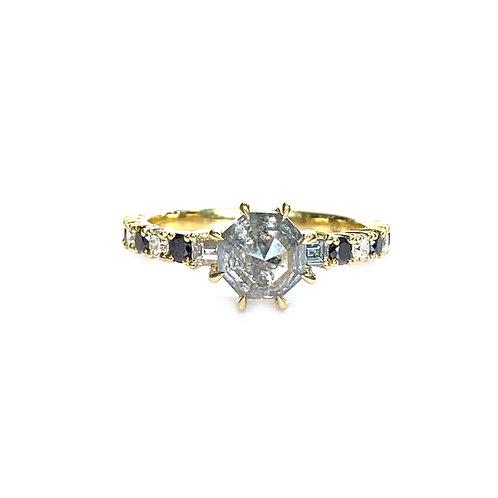 1.45CT. SALT N' PEPPER OCTAGONAL DIAMOND RING 18KTYG