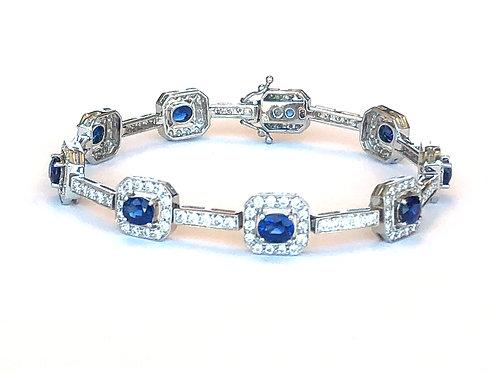 18KTWG 4.50CT. BLUE SAPPHIRE & 3CT. DIAMOND BRACELET