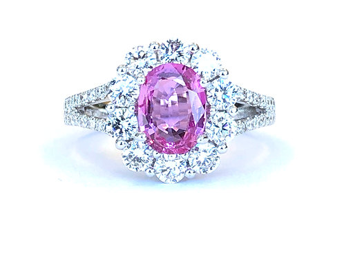 1.20CT. OVAL PINK SAPPHIRE & DIAMOND HALO RING