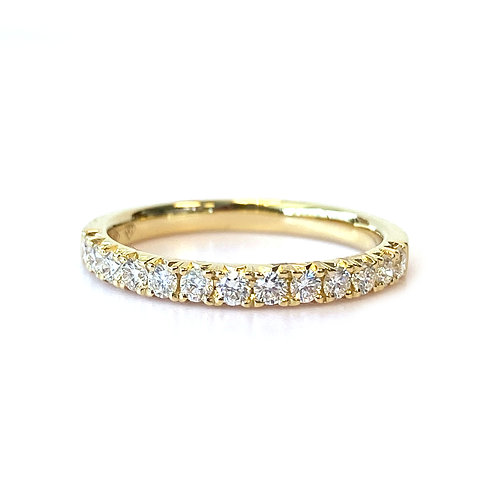 FRENCH PAVE STACKABLE WEDDING BAND WITH 0.33CT ROUND DIAMOND IN 18KT YELLOW GOLD