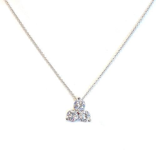 0.69CTTW. THREE STONE DIAMOND PENDANT NECKLACE