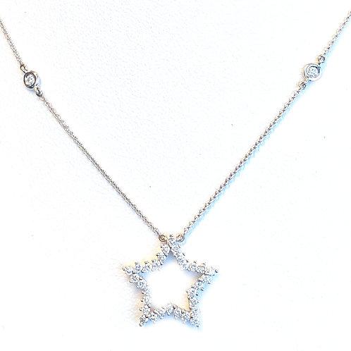 FASHION DIAMOND STAR WHITE GOLD PENDANT NECKLACE