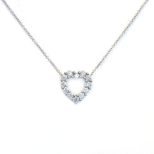 18KTWG DIAMOND HEART PENDANT NECKLACE