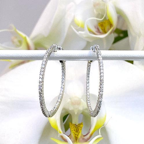 1.00CTTW. ROUND DIAMOND INSIDE-OUT HOOP EARRINGS