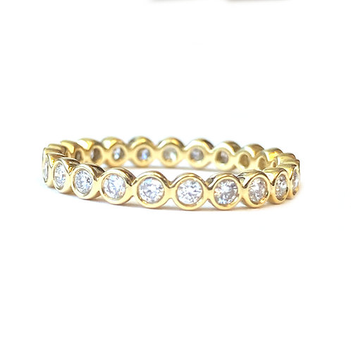 0.50CTTW. BEZEL SET DIAMOND ETERNITY BAND 18KTYG SIZE 6