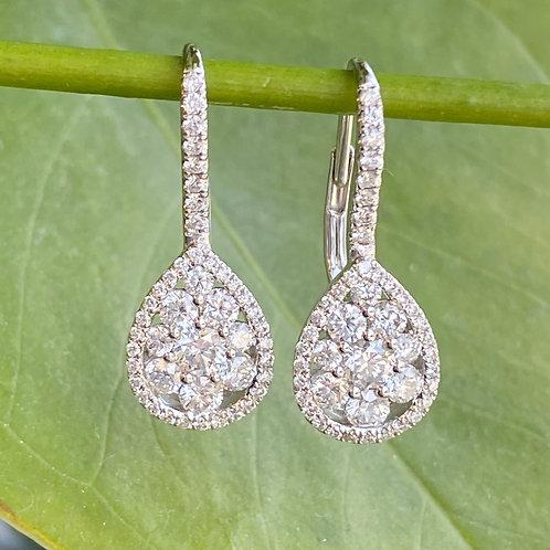 PEAR SHAPE CLUSTER STYLE DIAMOND EARRINGS