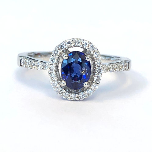 CLASSIC BLUE SAPPHIRE & DIAMOND HALO RING