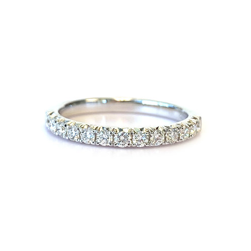 FRENCH PAVE STACKABLE WEDDING BAND WITH 0.33CT ROUND DIAMOND IN 18KT WHITE GOLD