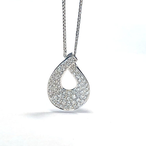 FASHION 0.60CT. PAVE DIAMOND TEARDROP PENDANT